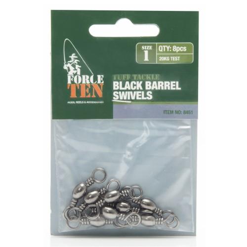 Force Ten Black Barrel Swivel #1 - 8451
